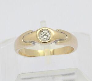 Ring-in-14kt-585-er-Gelb-Gold-mit-Solitaer-Brillant-Diamant-Brillanten-Gr-60