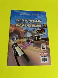 STAR WARS EPISODE 1 RACER - Instruction Booklet Manual Original Nintendo N64