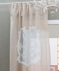 Details zu Isadora sand 140x300cm bestickt Leinen Halbleinen Vorhänge  Shabby chic Vintage