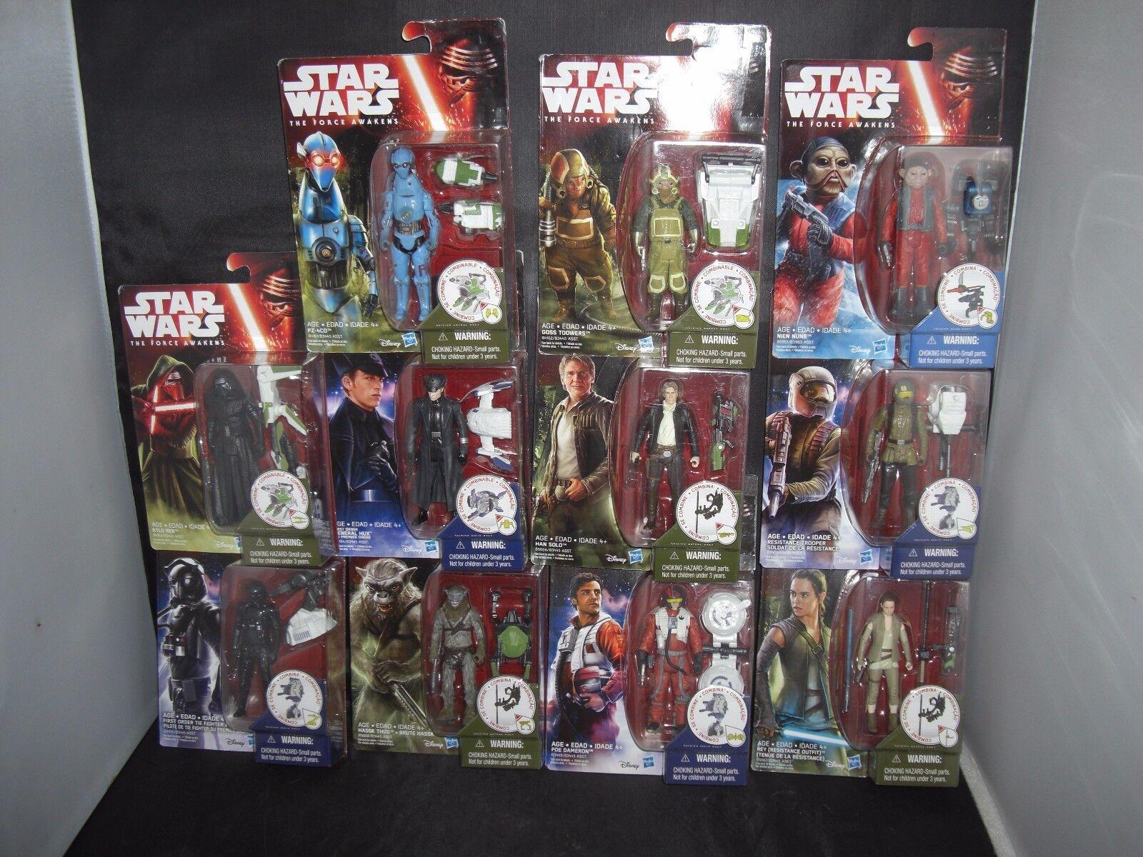 Star Wars Force Awakens 3.75  PZ-4CO,HanSolo,KyloRen,NienNunb,Dameron,HasskThug