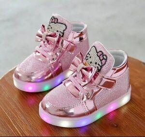 c558433da Hello Kitty Pink Trainers Girls LED Lights Brand New UK Size 5   eBay