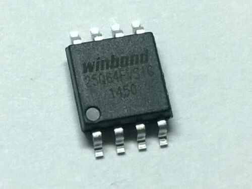 Flash chip Flashed. Winbond 25Q64FVSIG serial flash memory Programmed
