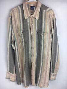 Wrangler-Pearl-Snap-XXXLT-Shirt-Long-Sleeve-Stripe-Distress-Brown-Blue-Red-AG