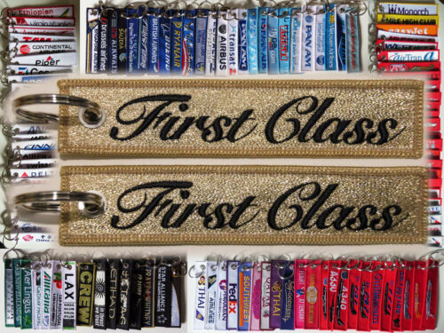 Keyring FIRST CLASS *GOLD* baggage tag label keychain 4 passengers VIP PRIORITY