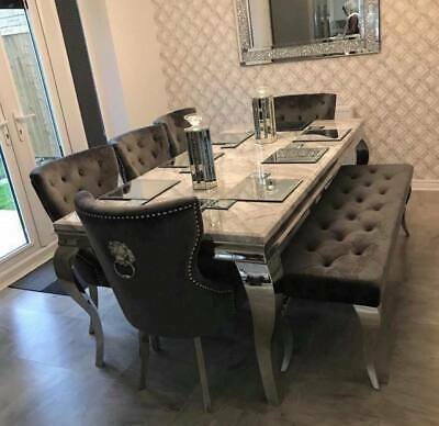 Louis 150cm Grey Marble Dining Table 4 Grey Lion Knocker Chairs 110cm Bench Ebay