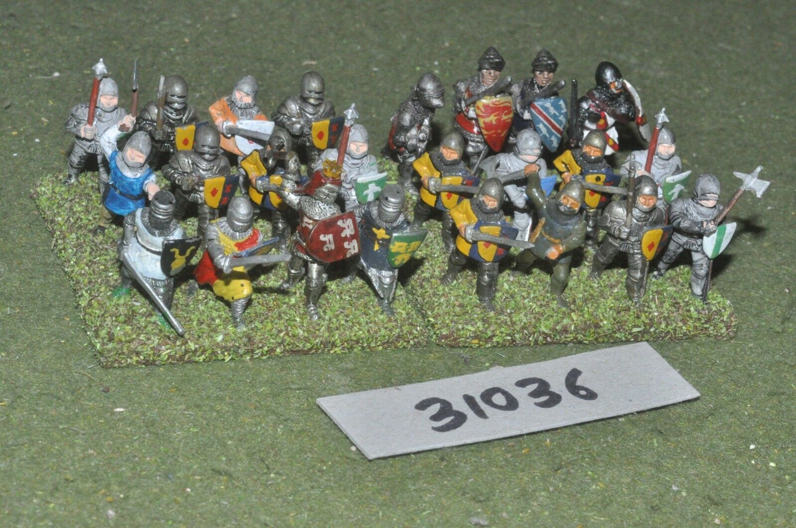 25mm medieval   english - dismounted men at arms 24 figures - inf (31036)