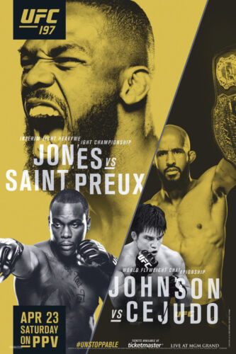 Official UFC 197 Jon Jones vs Ovince Saint Preux Sports Poster 12x18 inch