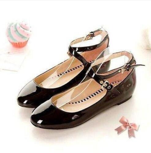 Toutes les Taille Femme Filles Chaussures Derbies Lolita Bride Cheville Mary Janes Pompes Chaussures @ 5