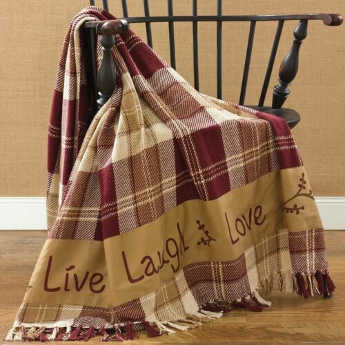 New Primitive Country LIVE LAUGH LOVE Red Wine Burgundy Throw Afghan Blanket
