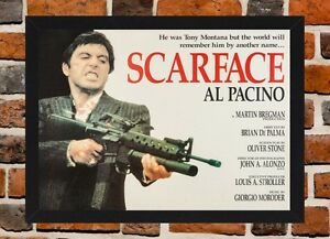 Framed Scarface Al Pacino Film Poster A4 A3 Size In Black White