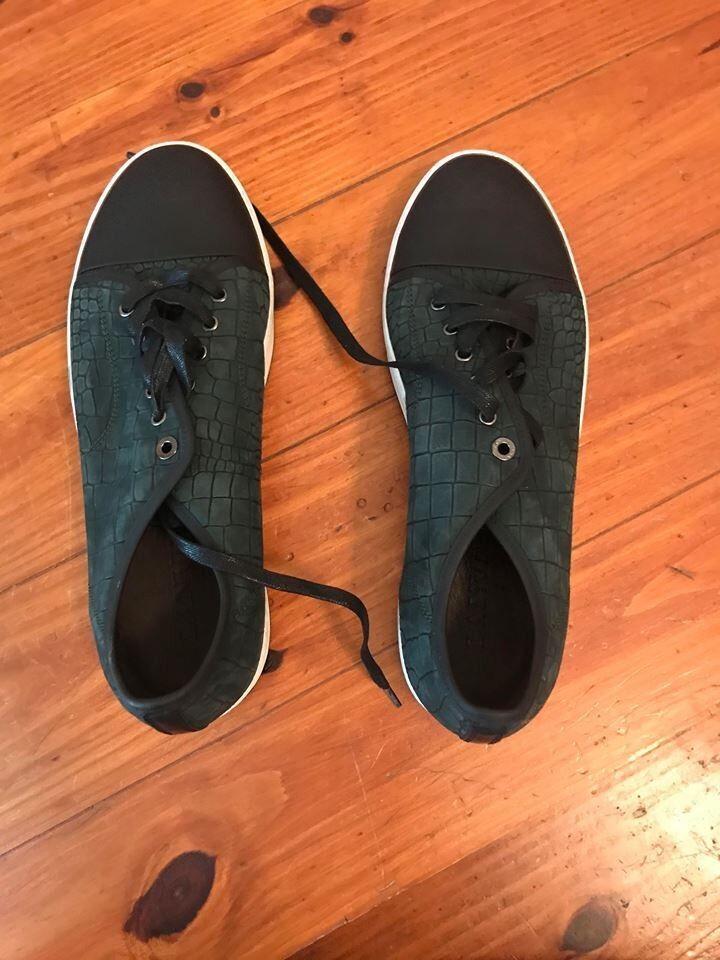 Lanvin Green Crocodile-Stamped Nubuck Sneakers Size 11