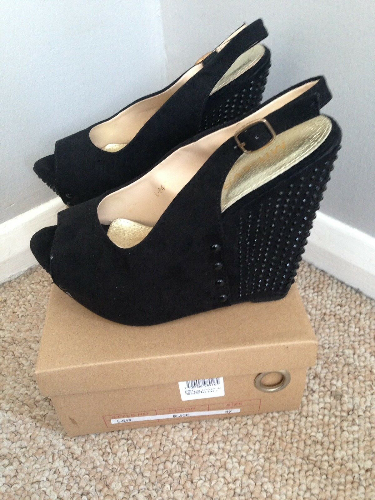 Gentlemen/Ladies Black Wedge Shoes, Size style 4 Crazy price Elegant style Size Preferred boutique 565e2a