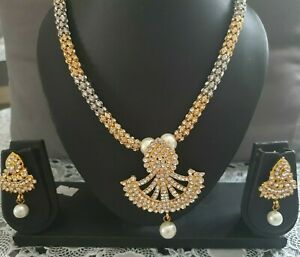 Details about Two Sets Offer Gold Necklace Pearls Earrings Diamond Costume  Jewellery Indian