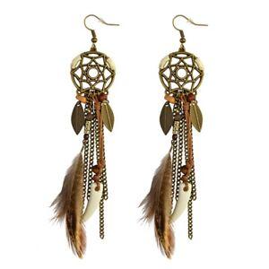 Dream-Catcher-Bohemian-Drop-Dangle-Earrings-Feather-Jewelry-Women-Retro-Charm