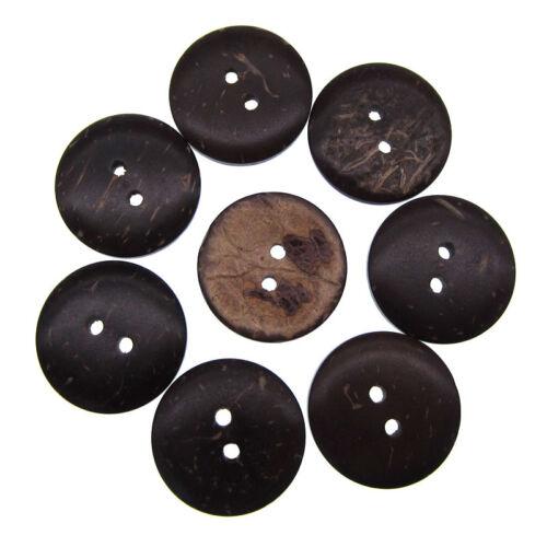 """40Pcs 3//4/"""" Naturel Noix de Coco Boutons 2 Trous Shell Flatback Sewing Boutons 20.0 mm"""