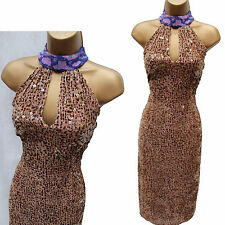 Karen Millen Vintage Silky Brown Velvet Beaded Halterneck Cocktail Dress UK 8