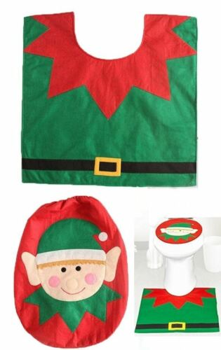 Elf Toilet Seat Cover /& Mat Christmas Decor Bathroom Pad Rug Festive Party Xmas