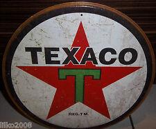 """TEXACO 1936 LOGO,  VINTAGE-STYLE ROUND 12"""" METAL WALL SIGN.OIL/PETROL/GAS/USA"""
