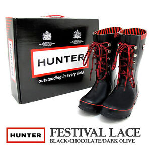 Image is loading NEW-Hunter-Rain-Boot-Festival-Lace-up-Black-