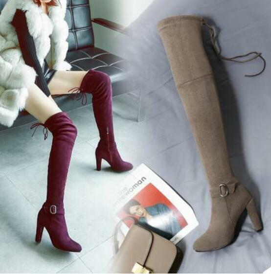 femmes Suede Uk sz Pointy Toe Stretchy Knee High Ridding bottes Chunky Heel chaussures