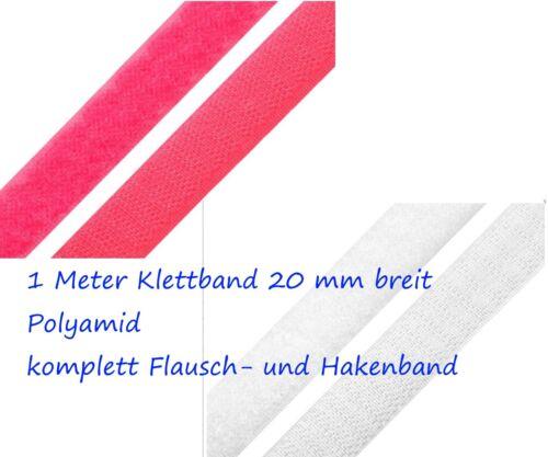 Klettband Klettverschluß Kletthaken schwarz weiß pink  2-5 cm Haken Flausch