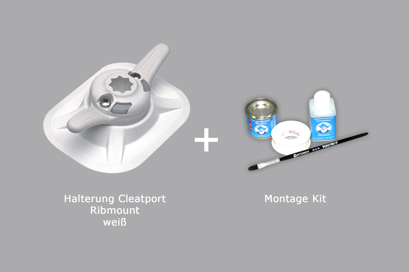 Set: Railblaza Cleatport Ribmount Halterung und Kleber-Kit, (weiß) 03-0016-11