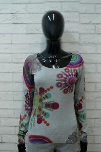 Maglione-DESIGUAL-Donna-Taglia-XS-Pullover-Cardigan-Sweater-Woman-Cotone-Grigio