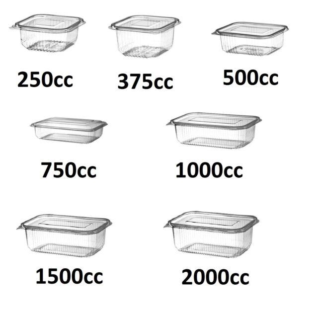 RECTANGULAR HINGED Salad Pasta FOOD CONTAINERS Box 500cc x 100
