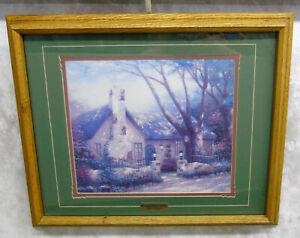 Thomas-Kinkade-MORNING-GLORY-COTTAGE-Art-Print-Wood-Framed-22-5x18-5-034-Signed