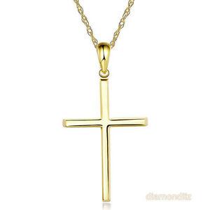 Fine 14k yellow gold plain cross pendant necklace jewelry ebay image is loading fine 14k yellow gold plain cross pendant necklace aloadofball Images