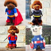 Superhero Dog Costume Halloween Fancy Dress Puppy Cat Pet Clothes Outfit Apparel