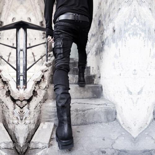 Ths01 Mens Fashion Gothic Hip-hop Denim DJ Pencil Pants Punk Rock Zip Trousers L