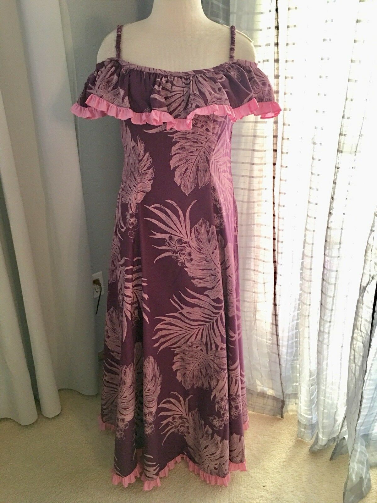 NEW lila Rosa OFF THE SHOULDER HAWAIIAN MUUMUU HULA DRESS Größe 11-12