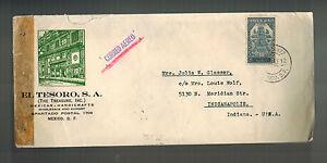 1943 El Tesoro Mexico City Mexico censored Airmail cover to USA Judaica
