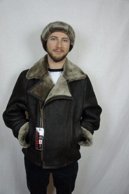 Brown Men 100% Sheepskin Shearling Leather Bomber Biker Moto Flight Jacket S-8XL