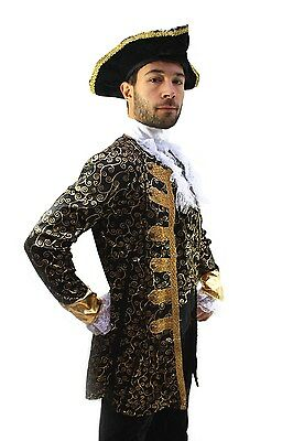 Costume Nobiluomo Pirata Capitano Barocco Caraibi Medioevo Uomo K1