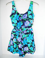 NEW WOMEN'S BLUE FLORAL CRUISE ONE PIECE BATHING SWIM SUIT SHORTS SIZE 10 OR MED