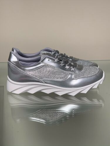 Womens Ladies Silver Glitter Bling Trainer Size 6// 39 NWB