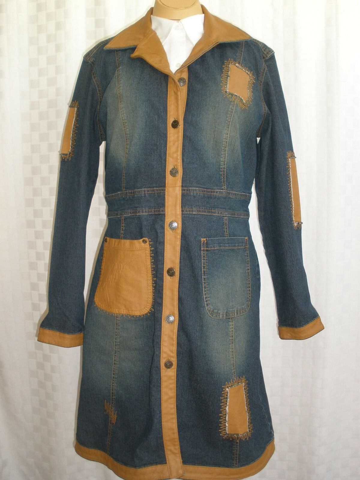 FUBU THE COLLECTION DENIM COAT LEATHER TRIM WOMEN'S SIZE M HOT VINTAGE L@@K