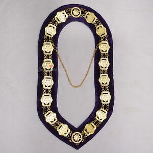 Masonic-Regalia-O-E-S-Eastern-Star-Deluxe-Gold-Plated-Purple-Velvet-Chain-Collar