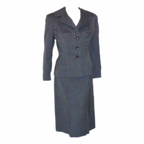 MADAME GRES 1950s 2 pc Gray Herringbone Jacket and