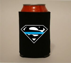 Superman-Thin-Blue-Line-Police-Koozie-Coozie-Bottle-Beer-Can-Holder-Cooler