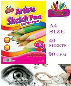 A4 Sketch Pad Book White 40 Sheets Artist Sketching Drawing Doodling Art Craft