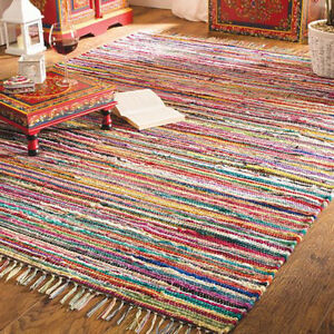 Image Is Loading Shabby Chic Random Rag Rug Multi Colour Raindow
