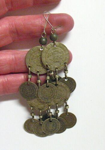 SILVER COIN CHANDELIER EARRINGS PIERCED DANGLE