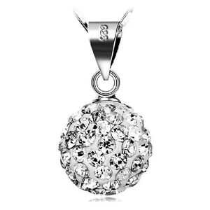 Wholesale-Women-925-Silver-Crystal-Ball-Pendant-Necklace-Jewelry-Christmas-Gift