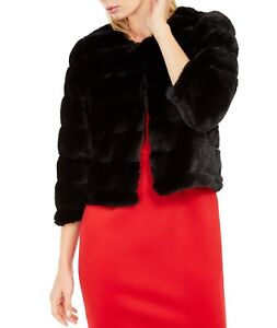 Calvin Klein Womens Jacket Black Size Small S Faux-Fur Bolero Shrug $99 112