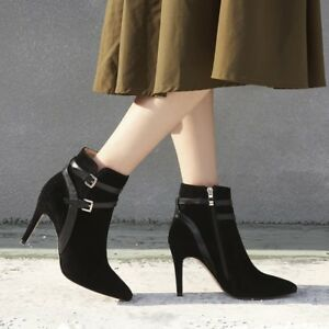Chic-Women-Slim-High-Heel-Belt-Ankle-Boots-Pointy-Toe-Suede-Strap-Shoes-Sz-uk2-6