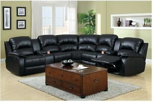 Image Is Loading Black Sectional Bonded Leather Sofa Cup Holders Amp