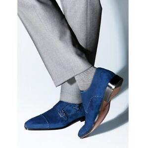 Handmade Men Monk Strap Shoes, Suede